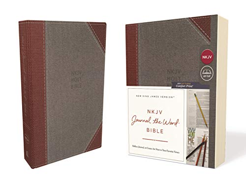 NKJV, Journal the Word Bible, Cloth over Board, Gray/Red, Red Letter Edition, Comfort Print: Reflect, Journal, or Create Art Next to Your Favorite Verses