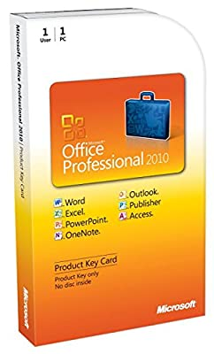Microsoft Office Professional 2010 1 Users Key Card