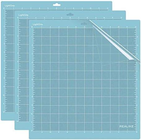 REALIKE Leichte Grip Schneidematte für Silhouette Cameo 3/2/1,12x12 Zoll 3er-Pack Klebstoff klebrig Schneidematte 3er-Pack Flexibler rutschfester Ersatz Vinyl Schneidematte zum Basteln