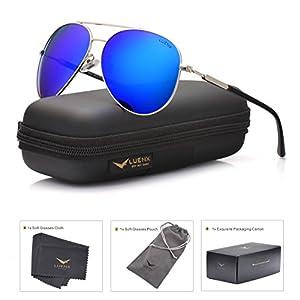 LUENX Mens Womens Aviator sunglasses Polarized & with Case - UV 400 Protection Dark Blue Lens Silver Frame 60mm
