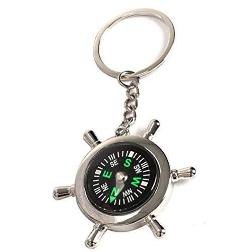 Compass Rudder Keychain - 1 Piece Wheel Shape Brass Watch Style Ring Keychain Compass Outdoor Camping Hiking Key Ring Compass