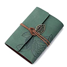 Changeshopping Vintage Leaf PU Leather Cover Loose Leaf Blank Notebook Journal Diary Green