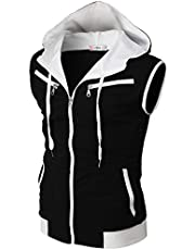 H2H Mens Casual Lightweight Sleeveless Zip-up Vest Tank Hoodies