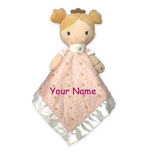 (Personalized Princess Noa with Shimmering Crown Lil Snuggler Star Detail Plush Babydoll Blanky Blanket for Baby Girl with Custom Name)
