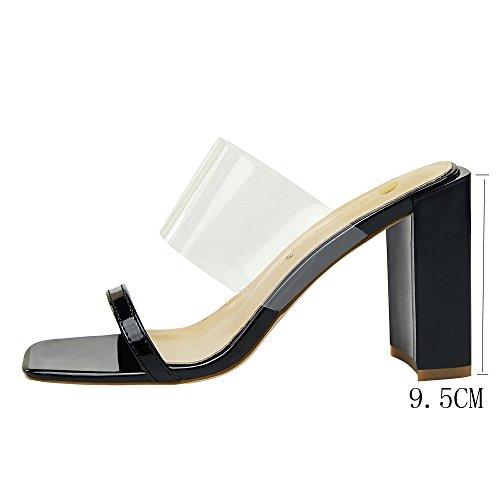 Tacón Calado Cuadrada y de Abierta Zapatos Pantuflas Verano Versión Mujer Sandalias Black Moda Cabeza Punta Coreana Brillantes 8TYqnzfxH