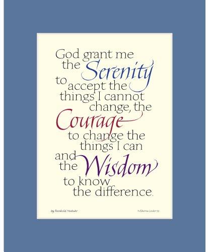 Serenity Prayer Print (Serenity Prayer - Calligraphy Print 8x10 inches - Blue Mat)