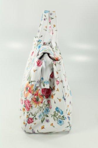 Italiana.–Bolso de mano de piel color blanco flores–�?6x 25x 18cm (B X H X T)
