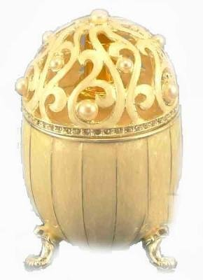 Limited Edition White Frost Russian Egg Fragrance Lamp with Pearls by - Alexandria White Pearl
