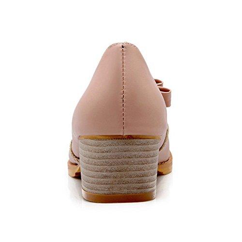 BalaMasa Womens Slip-On Kitten-Heels Solid Imitated Leather Pumps-Shoes Pink 8T5UFJ11