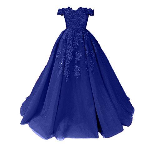 Spitze Partykleider Blau Ballkleider Promkleider Charmant Neu Linie A 2018 Royal Prinzess Damen Abendkleider Lang qwz1Ot