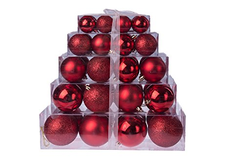 (Christmas Red Shatterproof Orbs and Ornaments Cake Box - 80mm 40 Pack)