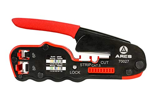 ARES 70027 | Compact Modular Crimper | Precision CNC Grounded Crimping Teeth | Crimps RJ45 and RJ11 Modular ()
