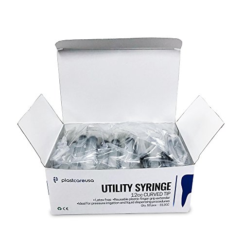Box of 50 Curved Tip 12cc Irrigation Syringes Disposable Dental -
