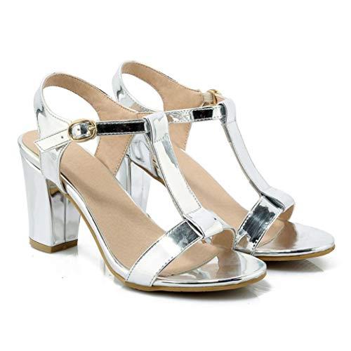 Women's Classic T-Strap High Heel Sandals Comfort Peep Toe Slingback Ankle Strap Chunky Heels Sandal White]()