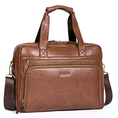 BOSTANTEN Leather Briefcase for Men Business Travel Laptop Bags 15.6 inch Brown
