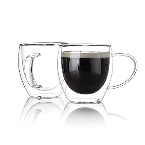 Sweese 4611 Glass coffee mugs - Double Wall Insulated Glass Coffee Tea Cup Set with Handle, Perfect for Espresso, Latte, Cappuccino, 8 oz, Set of 4 (Handle Cups Espresso No)