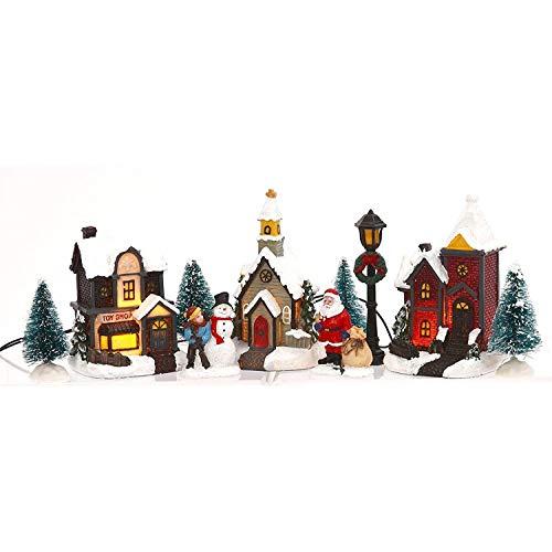 Miniature Lighted 10-Piece Christmas Village Scenes