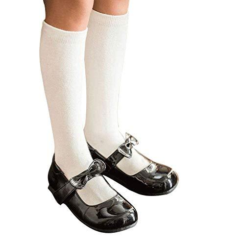 3 Pack Boys & Girls School Uniform Premium Cotton Rich Knee High Socks (White, S: Shoe size ()