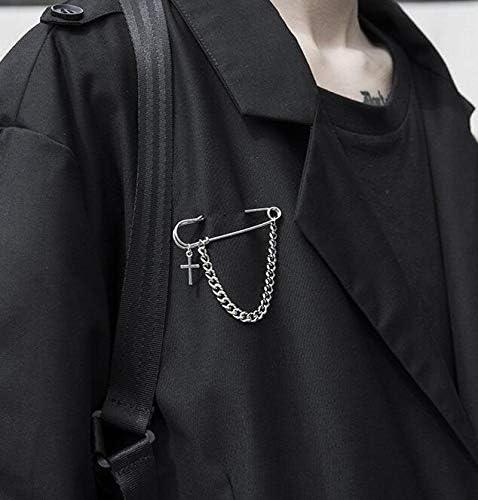 Wadachikis ブローチ ヒップホップ シンプルな レトロ クロス チェーン デコレーション ブローチ ギフト 衣類付属品 ブローチピン 誕生日プレゼント 彼女 人気 女性 発表会 贈り物