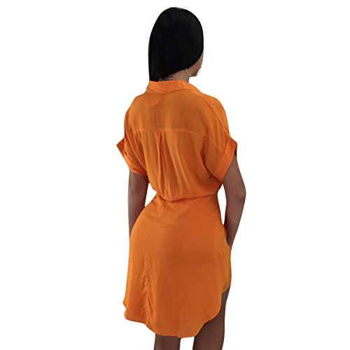 with Dress Sleeve for Lapel Dress Mini Women Orange Hipsters Short Belt Shirt Clubwear Lady Breasted Linaking Single Uw1vqR