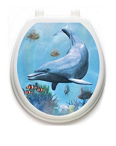 Dolphin Dream Toilet Tattoo TT-1122-R Round Ocean Beach Theme Cover Bathroom (Tattoo Dolphin)