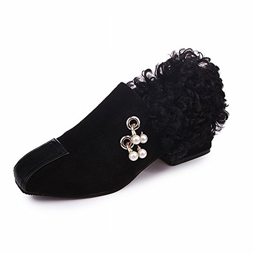 Shoes Short Help 5 Fluffy Work Women's to Shoes 35 EUR black Mouth Buckle Shallow Heels Pearl Casual dA0AHqUF