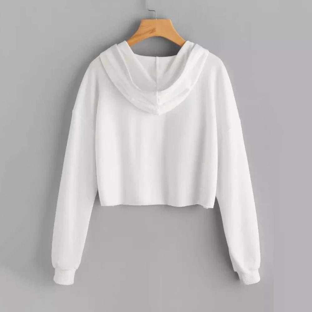 Felpe Corte Tumblr Donna Autunno Casual,Ragazza Sweatshirt Pullover Elegante Manica Lunga Crop Top Maglietta Cotone Camicette T-Shirt Yoga Fitness Calcio Sportiva Maglione Modaworld