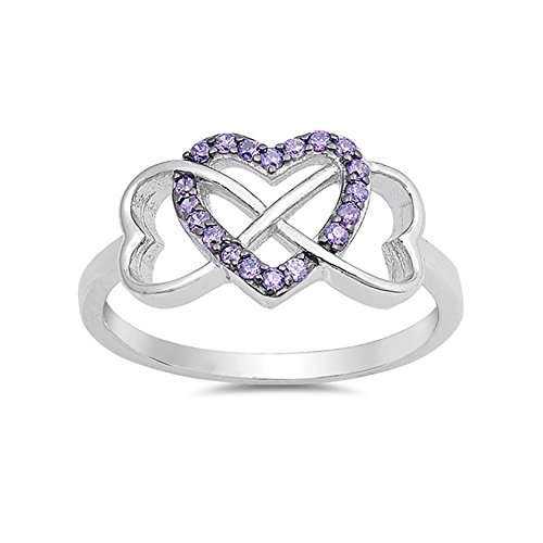 Blue Apple Co. Infinity Heart Promise Ring Round Simulated Purple Amethyst 925 Sterling Silver