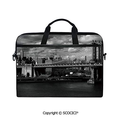 - Durable Waterproof Printed Laptop Shoulderr Bag Black and White Panorama of New York City Skyline with Focus on Manhattan Bridge Photo Computer Briefcases for 15 inch