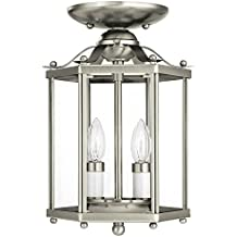 Sea Gull Lighting 5232-962 Bretton Two-Light Semi-Flush Convertible Pendant with Clear Glass Panels, Brushed Nickel Finish