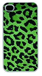 Jeans Green Leopard Print DIY Hard Shell White iphone 4/4s Case Perfect By Custom Service hjbrhga1544