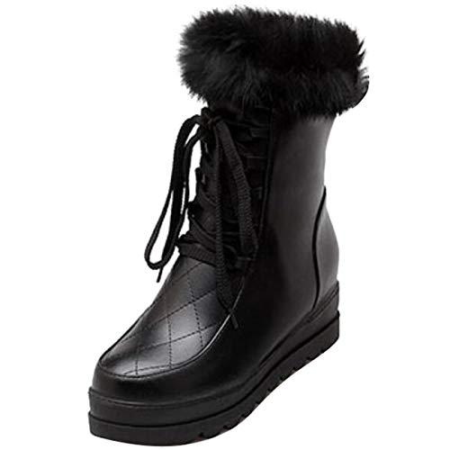 Boots Zip Snow up Mashiaoyi Toe Women's Round Black Flatform Fur Lace xY8Bqwzp