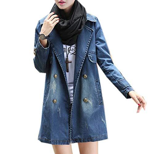 Eleganti Vintage Donna Autunno Forti Relaxed Bavero Taglie Casual Lunghe Cappotto Distressed Blau Maniche Jeans Jacket Primaverile Giacca qSwxvRU
