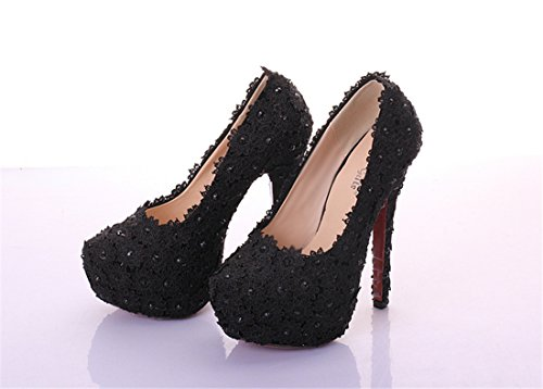 Black Miyoopark Flowers Evening LL175 14cm Shoes Heel Women's Pumps Party Formal 7qr78w