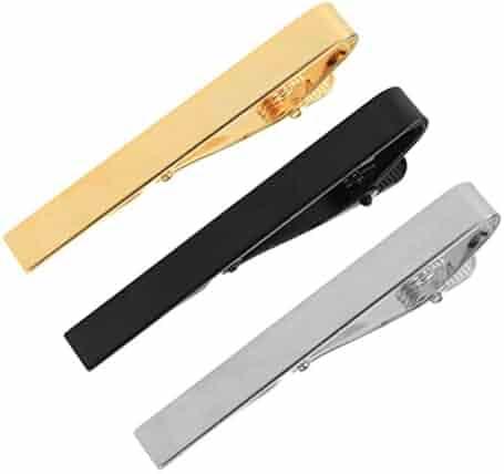 Tie Clips, Hugesavings Tie Clip Set Fashion Necktie Clips Tie Bar Clips Tie Pins Set Silver Tone