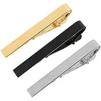 Hugesavings 3 Pcs Set Tie Clips, Silver Golden Black Classic Tie Bar Clip Necktie Tie Pins