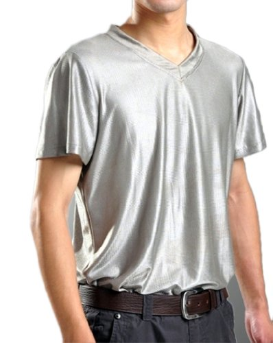 OURSURE EMF Radiation Shield Men T-Shirt V-Neck Health Safety Protection Suit 8900635 Silver