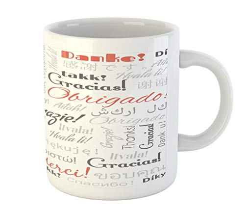 Lunarable Multinational Global Mug, Thank You Phrase in Different Languages of The World Multilingual, Printed Ceramic Coffee Mug Water Tea Drinks Cup, Salmon Grey