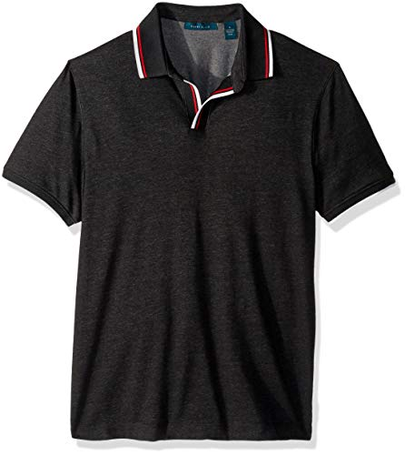 Perry Ellis Men's Johnny Collar Polo, alloy-4ESK7114 Medium