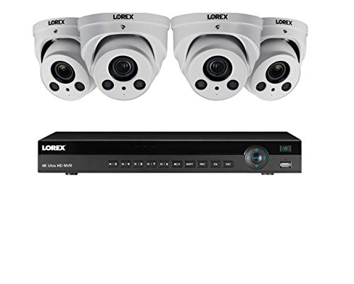 Lorex 8MP 4K Ultra HD IP NR900X Series 2 HDD Slot NVR System with 4K LNE8964AB Audio IP Dome Cameras Package, 4X Optical Zoom, 250FT Night Vision, 8 Channel 2TB NR9082NVR with 4 White Dome Cameras