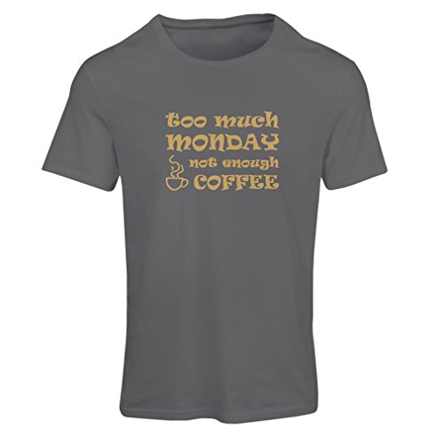 lepni.me T Shirts for Women Too Much Monday I Hate Mondays (Large Graphite -