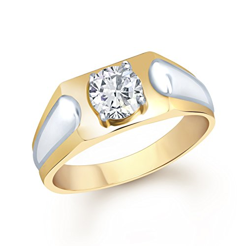 VK Jewels Traditional Gold and Rhodium Plated  CZ  Solitaire Ring   FR1096G [VKFR1096G]