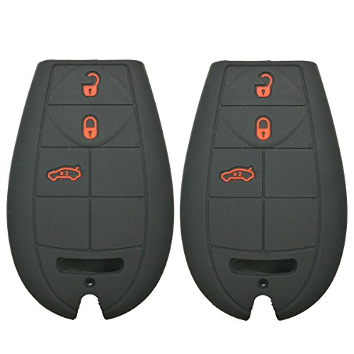 2Pcs Coolbestda Rubber 3 Buttons Smart Key Fob Remote Cover Case Protector Keyless Jacket for Jeep Grand Cherokee Chrysler 300 Town & Country Dodge Challenger Caravan Black