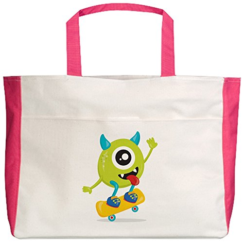 Royal Lion Beach Tote (2-Sided) One Eyed Monster on Skateboard - Fuchsia