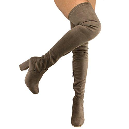 Premier Standard Damenmode Bequeme Vegane Wildleder Block Heel Slip On Oberschenkel Hohe Overknee Stiefel Taupe Su