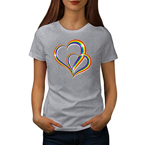 (TANLANG Womens Rainbow Heart Print Short Sleeve T-Shirt Trim O-Neck A-Line Tunic Blouse Tops for Women Sunmmer Loose Tees )