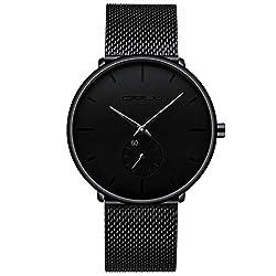 Men's Watch Unisex Minimalist Watch Waterproof Watch, Black, Size No Size