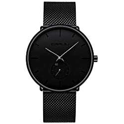 Men's Watch Unisex Minimalist Watch Waterproof Watch Military Watch Classic Gift Mesh with Black Pointer (X)