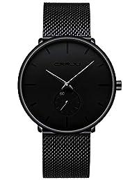 Men's Watch Unisex Minimalist Watch Waterproof Watch Military watch Classic Gift Mesh with Black Pointer (X)