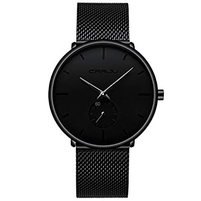Mens Watches Ultra-Thin Minimalist Waterproof – Fashion Wrist Watch for Men Unisex Dress with Stainless Steel Mesh Band